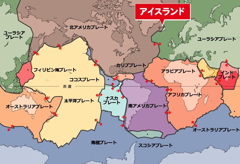 主要なプレートの位置図:Wikipedeia「プレート」記事より編集